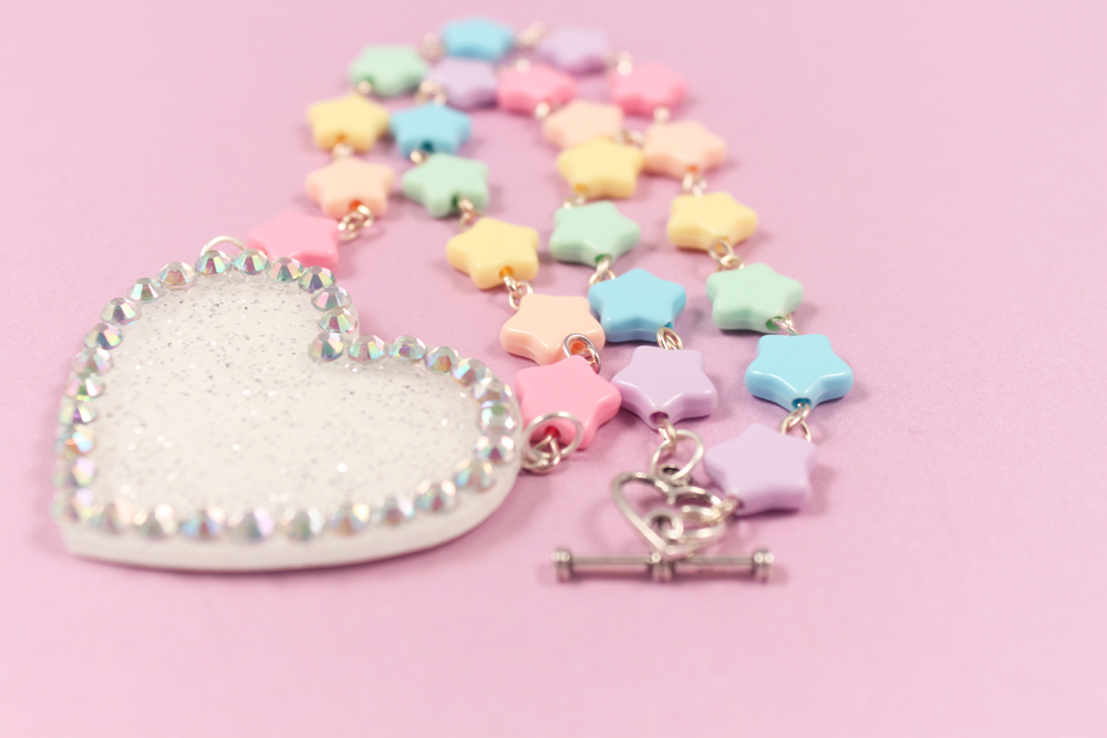 Bordered heart necklace with pastel stars by PeppermintPuff