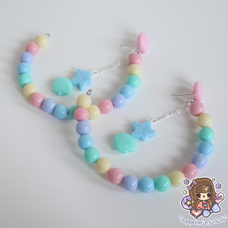 Half Hoop Seashell Dangle Stud Earrings by PeppermintPuff