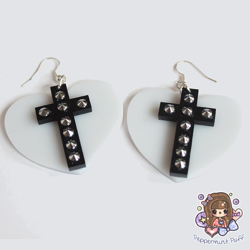 Studded Cross Earrings by PeppermintPuff