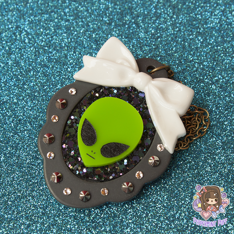 Galactic Alien Necklace by PeppermintPuff
