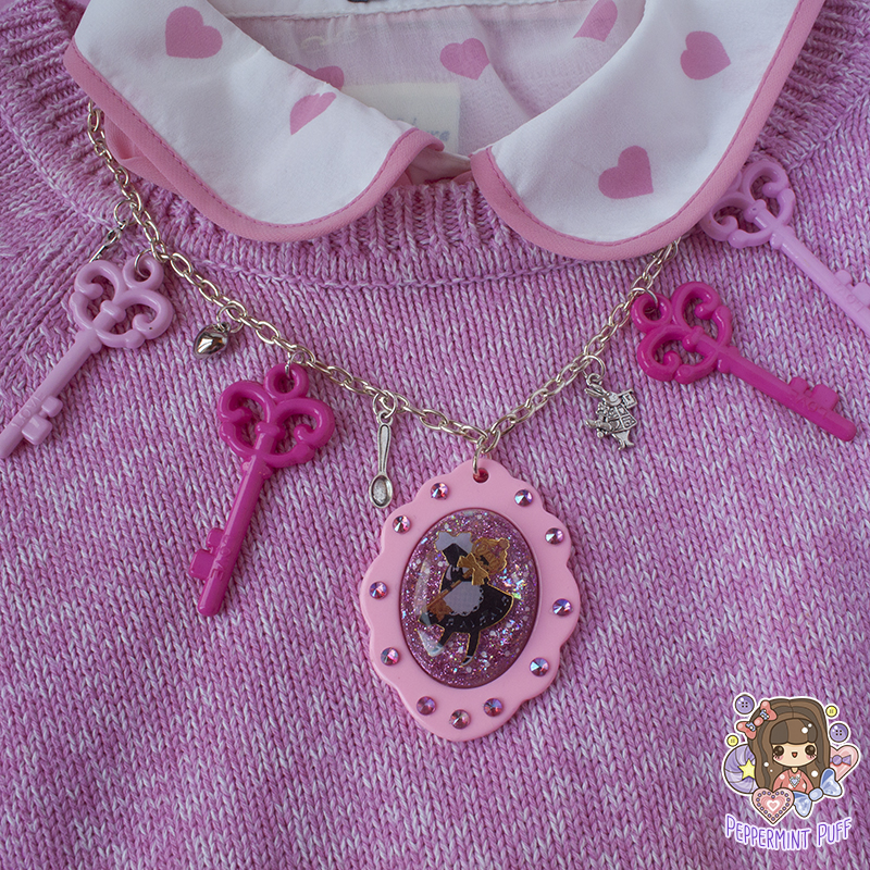 Pink Wonderland Key Cameo Necklace by PeppermintPuff