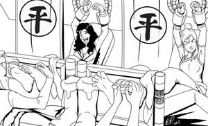 Korra and Asami tickled