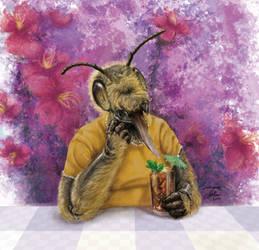 Bumblebee with ice tea