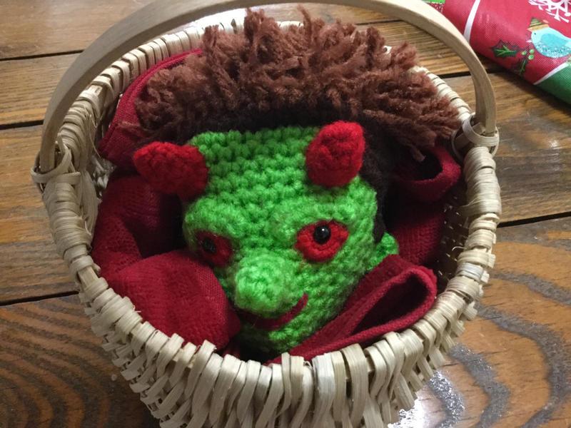 Lorne's crochet head by JBcrochetwizard