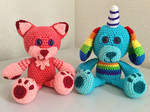 Coral the Cat and Rainbow Dog by JBcrochetwizard