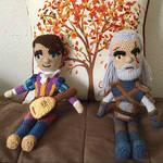 My Dandelion and Geralt dolls by JBcrochetwizard