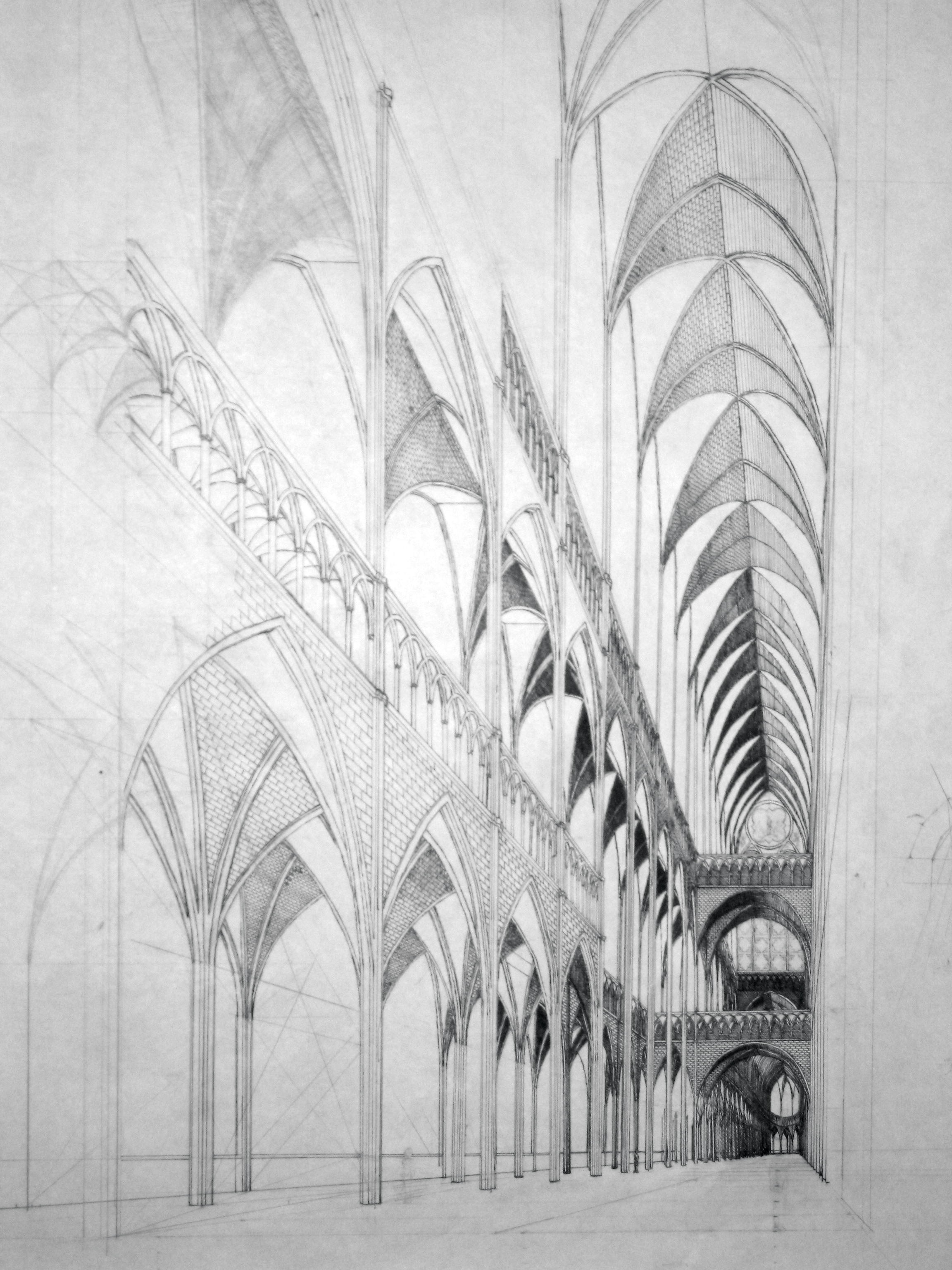 Gothic interior by medievalpete on deviantart for How to make architectural drawings