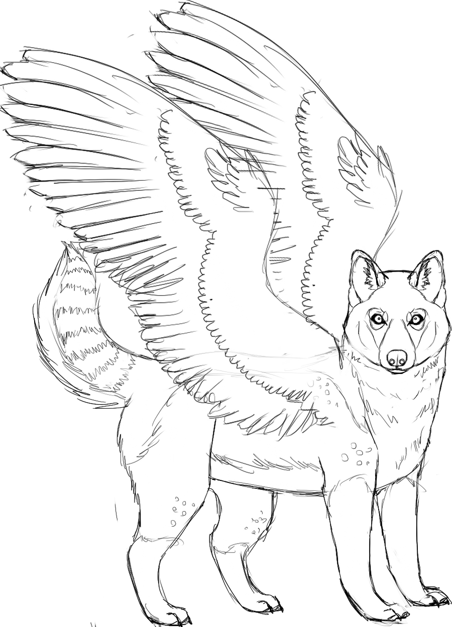 Winged husky sketch by kanbhik on deviantart for Husky puppy coloring pages