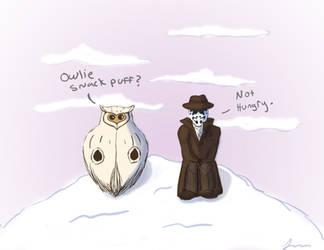 Watchmen-Rorschach and Sno Owl by okokay