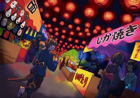 Matsuri before the night parade by liyashi