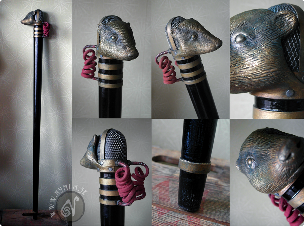 Steampunk Badger Microphone Walking Stick by Nymla