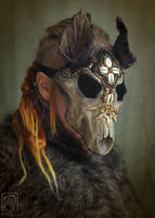 Beaded Wolf Skull Mask by Nymla
