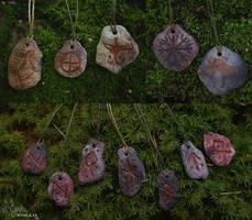 Pitfired ceramic pendants