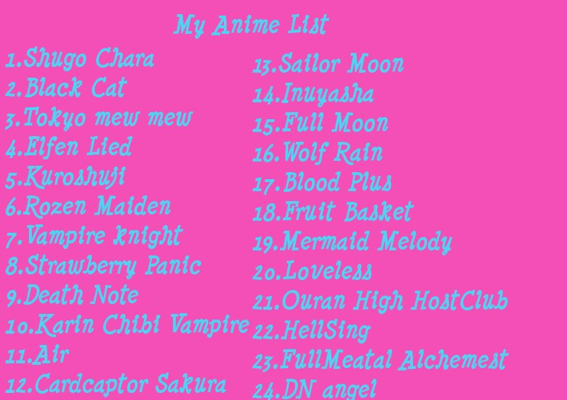 my anime list by celestialtheangel on deviantart