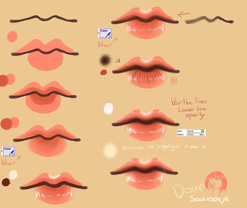 Scribble Drawing Tutorial : Step by lip tutorial saviroosje on deviantart