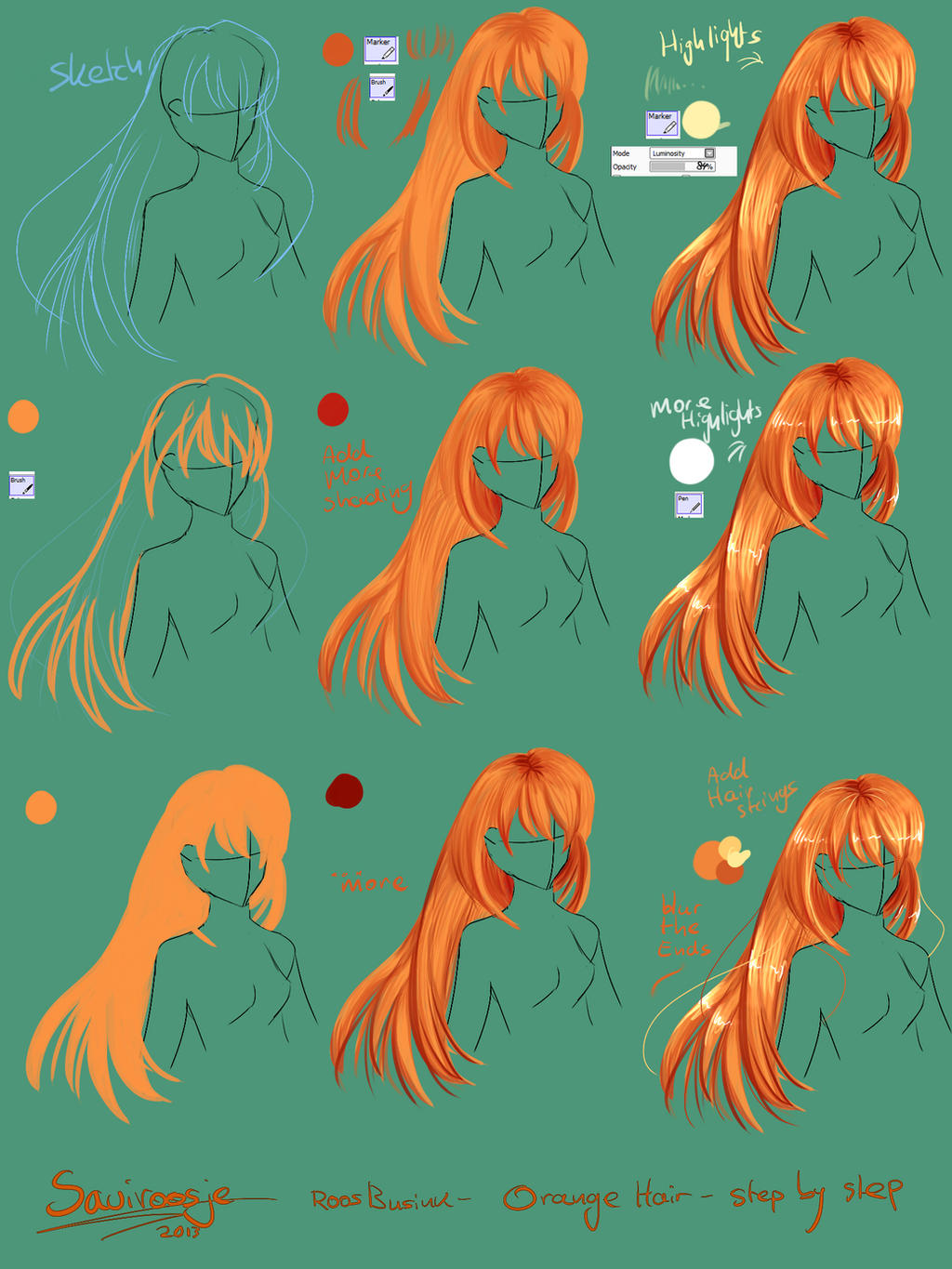 Step by Step -  How to draw hair by Saviroosje