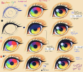 Step By Step - Rainbow eye tut + video