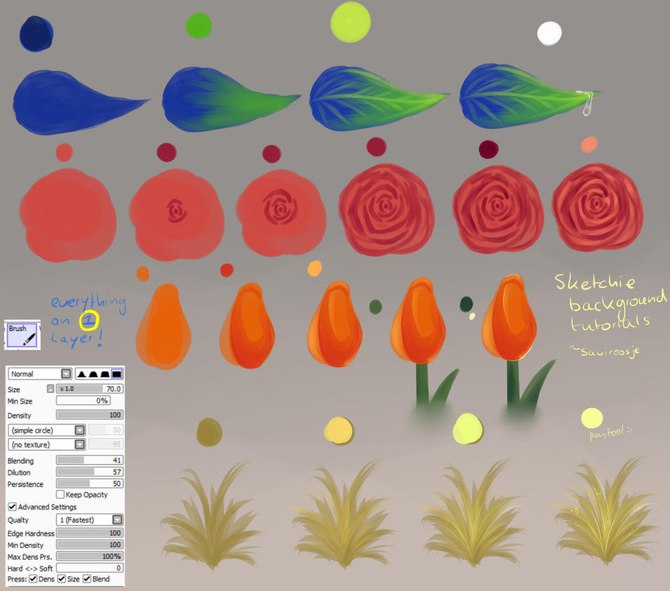 Step by step easy flowers and leafes by saviroosje on for How to paint simple watercolor flowers