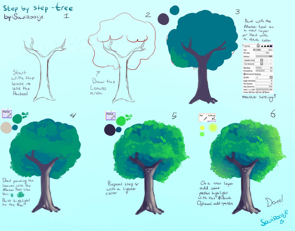 Step by step tree tutorial easy by saviroosje on deviantart for Step by step painting tutorial