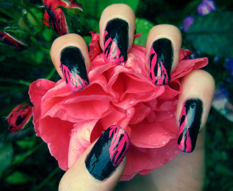 Pink + Black Zebra Nails by soyoubeauty