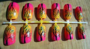 Neon Sunset Nails