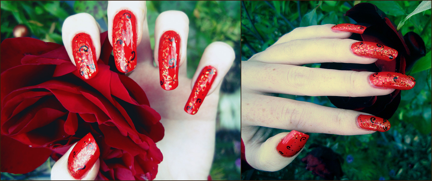 Chinese Floral Design Nails by soyoubeauty