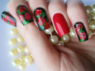 Hand Painted Rose Manicure