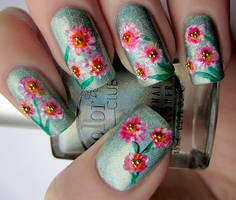 Spring Flowers Hand Painted Nail Art