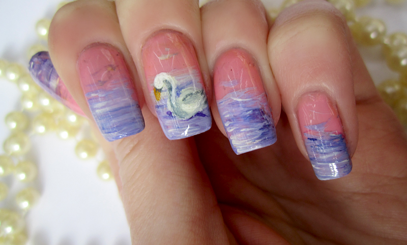 Swan Nail Art by soyoubeauty