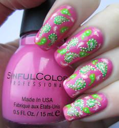Hand Painted Paisley Nail Art