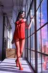 Lady in red... pantyhose 15 by tanyared