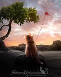 Cat flying a kite