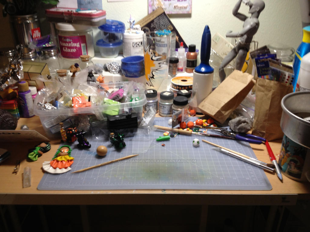 My desk by xlightangelwolfx