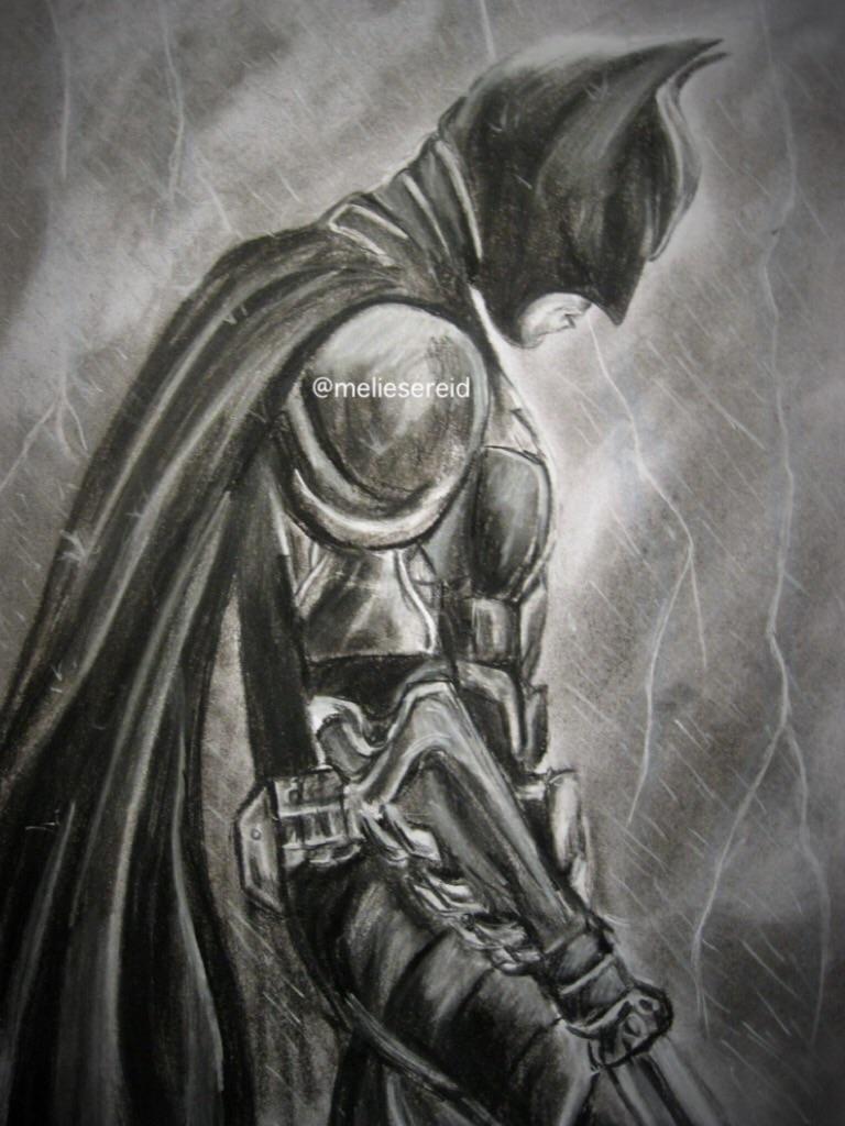 Batman charcoal drawing by MelieseReidMusic