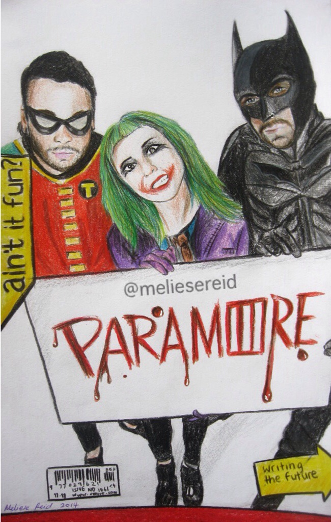 Paramore-Batman crossover drawing by MelieseReidMusic