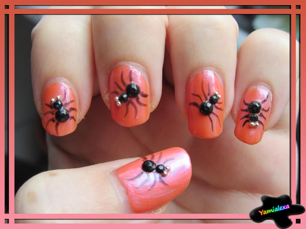 Halloween Spiders Nailart By Yamialexa On DeviantArt - Spider nail art - Robin Moses Nail Art SPIDER NAILS Black Widow Nails Spider