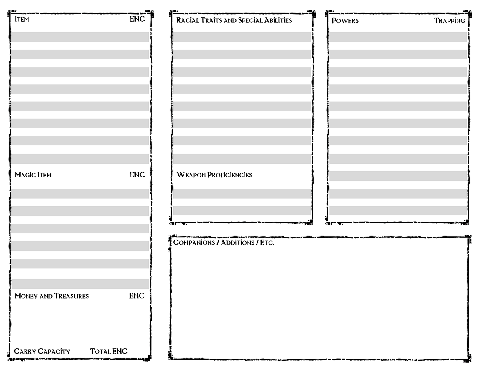 Character information sheet -  Eberron For Savage Worlds Character Sheet Page 2 By Psychometron