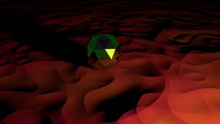 Icosphere in a rose/red desert