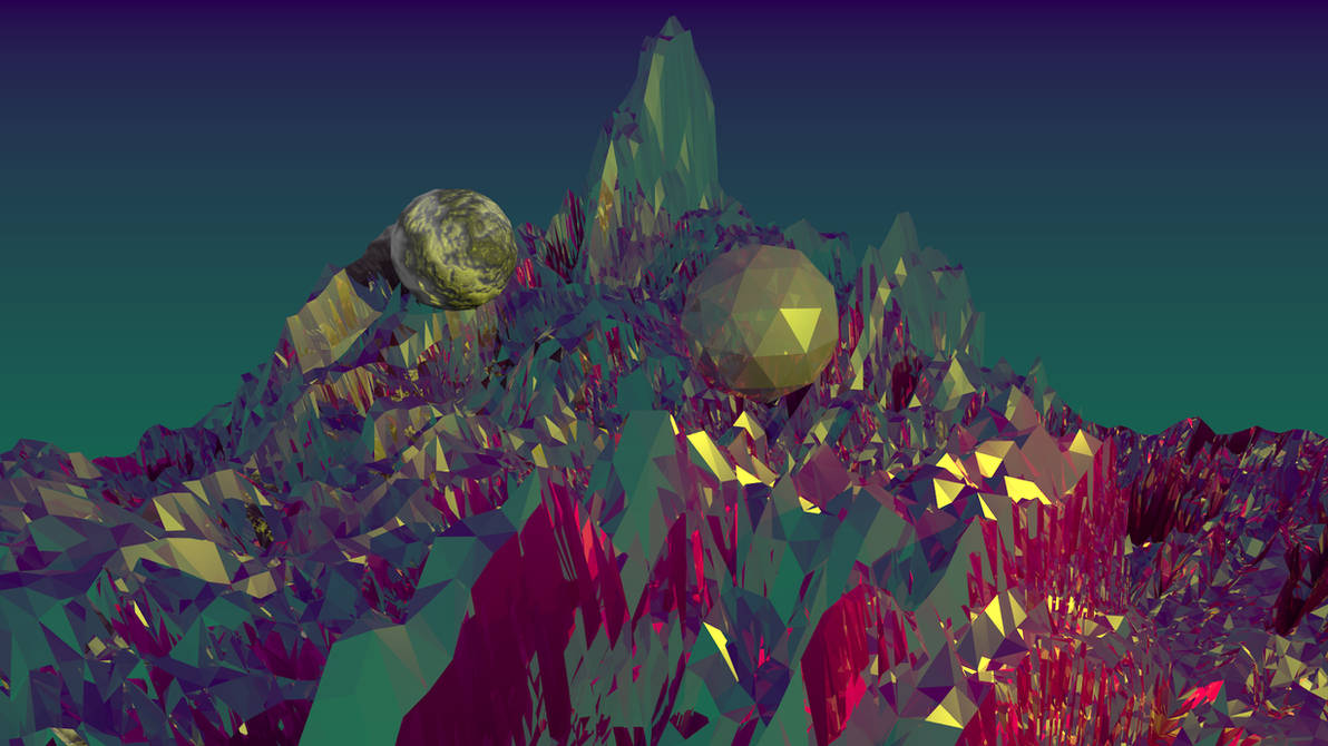 Fractal mountains and 2 weird balls by Phen0m77