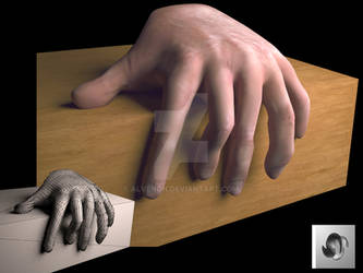 Mano 6 dedos 3d2ret2whith wireframe- Alvenon