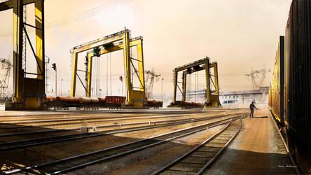 Yellow Train Yard by Madspeitersen