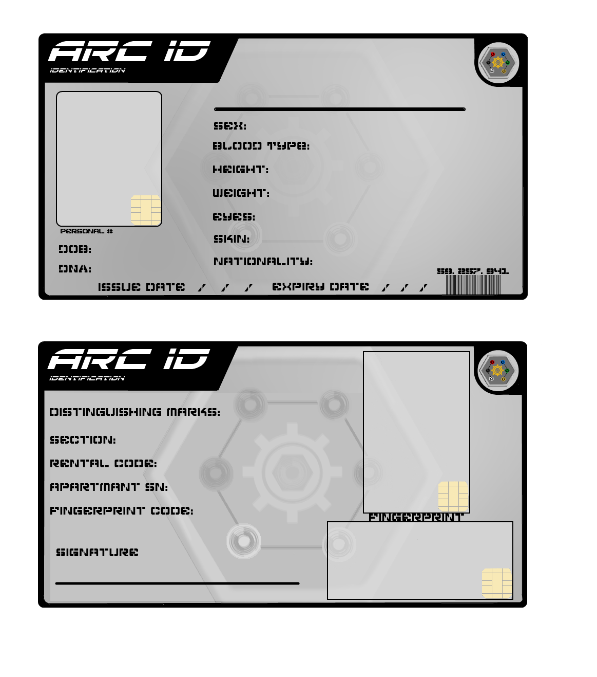Identification Card Template Arc id card.