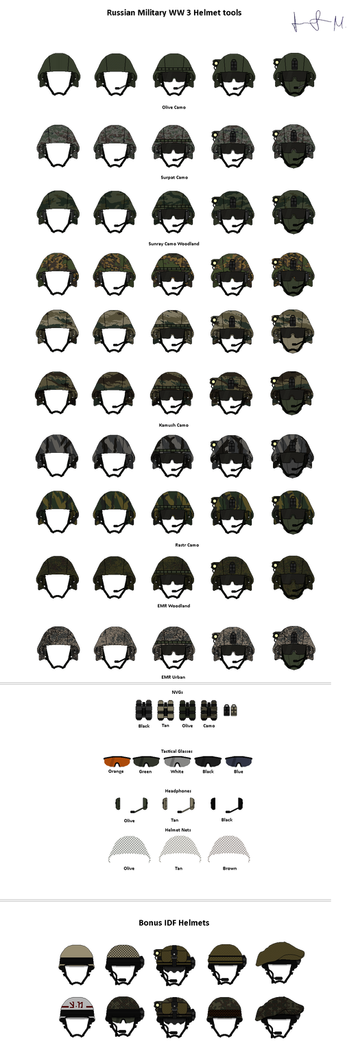 PIXEL ART TOOLS - Russian Helmets WW3 by Milosh--Andrich