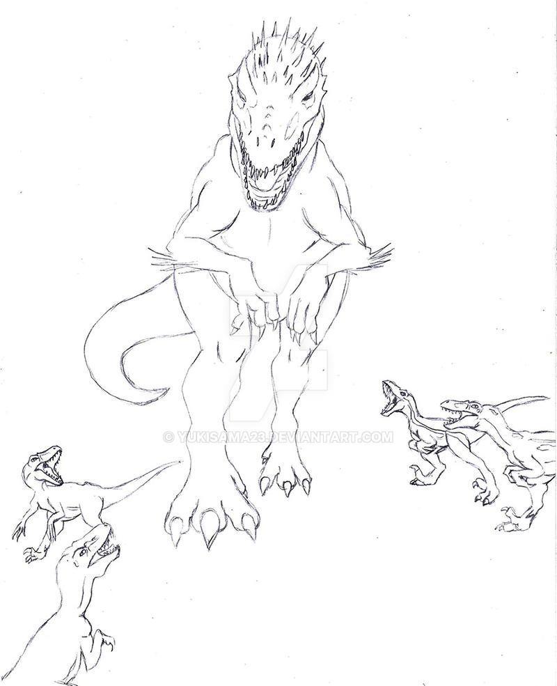 Indominus Rex And Raptors By Yukisama23 On DeviantArt