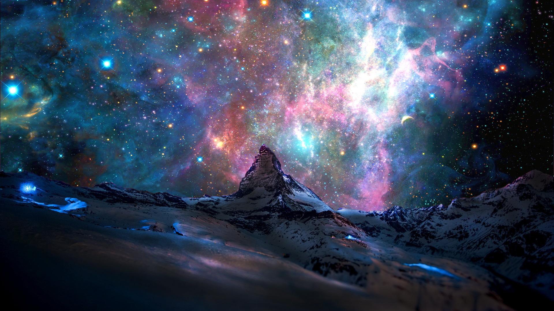 mountain snow galaxy nebula - photo #27