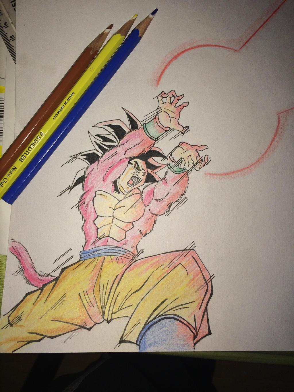how to draw goku super saiyan 4 kamehameha