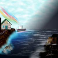 The Artboat Sails through Drumming Cat Cove