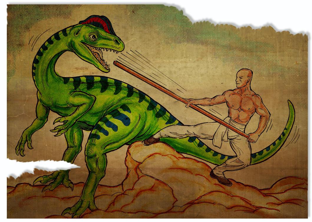 Dilophosaurus Vs Kung Fu by kenfreelance