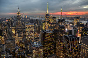 New York at sunset by olideb08