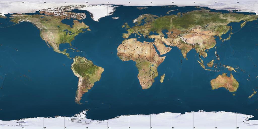 World satellite map with borders by andru hewitt on deviantart world satellite map with borders by andru hewitt gumiabroncs Image collections